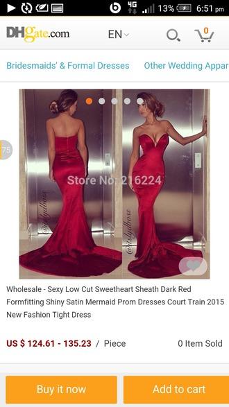 dress red dress red prom dress long prom dress boob tube