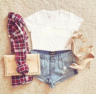 shorts shoes jeans white beige shirt sweater bag wallet blouse