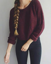 sweater,top,burgundy sweater,long sleeves,fall outfits,knitted sweater,crewneck,burgundy,sweatshirt,maroon/burgundy,bordeau,blouse,warm,winter outfits,red,cute,beautiful,girl,shirt,purple,cute outfits,braid,burgundy jumper,marroon,cotton,spring,teenagers,knit,cozy