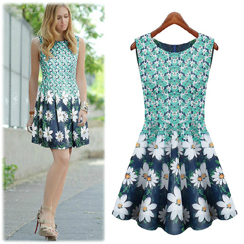 Sweet Floral Print Crew Neck Pleated Bodycon Tank Dress [grxjy561221] on Luulla