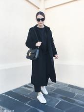 trini,blogger,sunglasses,sweater,pants,coat,shoes,bag,black coat,sneakers,shoulder bag,winter outfits