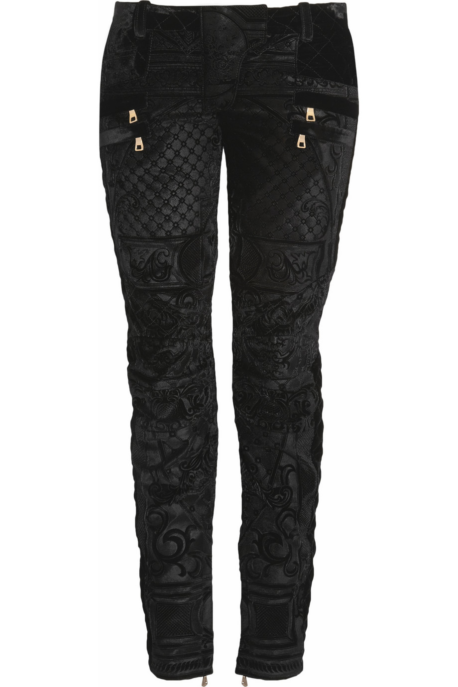 Balmain Velvet-brocade moto-style low-rise skinny jeans – 88% at THE OUTNET.COM