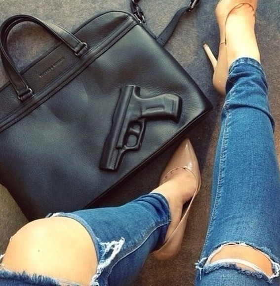 bag jeans gun leather black leather bag
