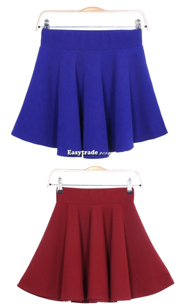 Fashion Women Candy Color Stretch Waist Plain Skater Flared Pleated Mini Skirt | eBay