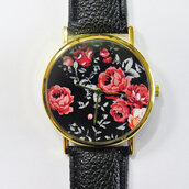 jewels,watch,handmade,style,fashion,vintage,etsy,freeforme,floral,flowers,rose,black,red,father's day,fathers day,gift ideas,present,summer,spring