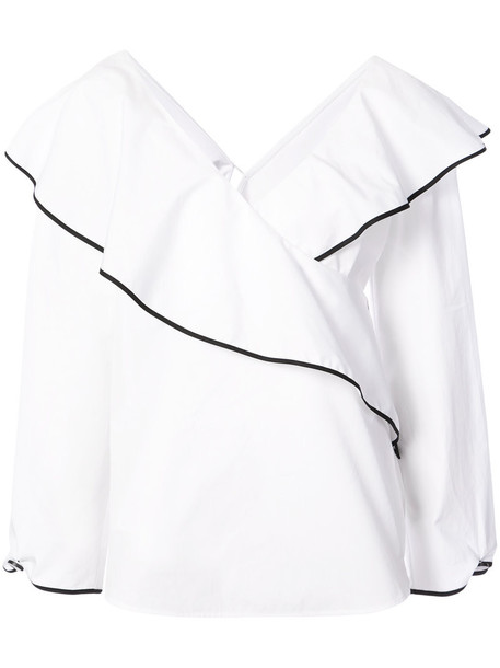 Dvf Diane Von Furstenberg top wrap top women white cotton