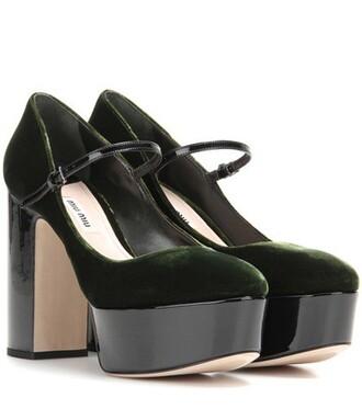 pumps platform pumps leather velvet black shoes