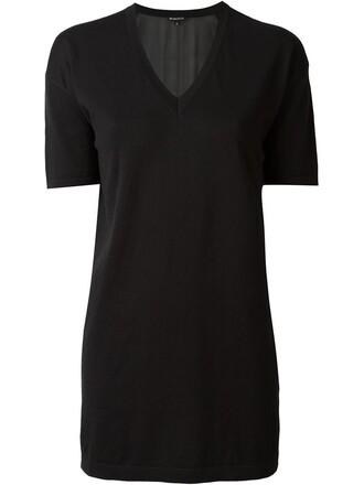 top knit v neck black