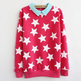 sweater unisex stars star print blue blue collar white stars pink red long sleeves long sleeve sweater