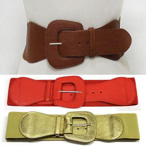 Women classy leather wide cinch elastic stretch high waist belt black s m l xl