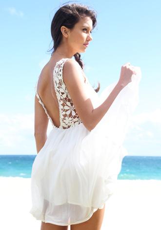 dress white white dress sort white dress crotchet dress floral dress white floral dress
