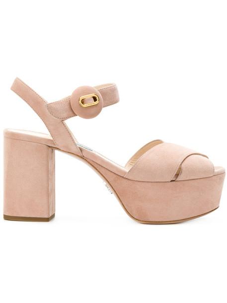 Prada women sandals platform sandals leather nude shoes