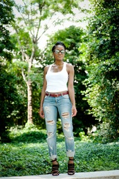 the daileigh,top,jeans,shoes,sunglasses,ripped jeans,tank top,sandals,strappy sandals
