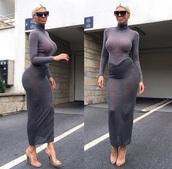 dress,two piece dress set,coords,high neck,turtleneck,long sleeves,sheer,grey top,grey skirt,longline,midi skirt,maxi skirt,bodycon,sunglasses,platinum hair,blonde hair,nude