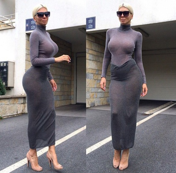 dress two piece dress set coords high neck turtleneck long sleeves sheer grey top grey skirt longline midi skirt maxi skirt bodycon sunglasses platinum hair blonde hair nude