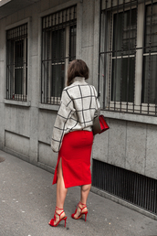 the fashion fraction,blogger,sweater,skirt,bag,shoes,checkered sweater,aquazzura,Aquazzura sandals,red sandals,sandals,high heel sandals,red high heel sandals,pencil skirt,red skirt,slit skirt,checkered,grey sweater,gucci bag,Red suede sandals