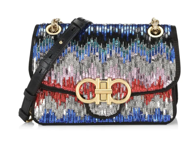 Salvatore Ferragamo Medium Gancini Paillettes Shoulder Bag