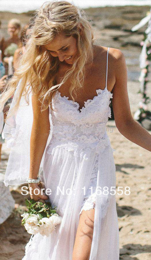 Sexy Beach Spaghetti Straps Appliques Low Back Lace Wedding Dress ...