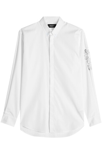 shirt embellished cotton white top