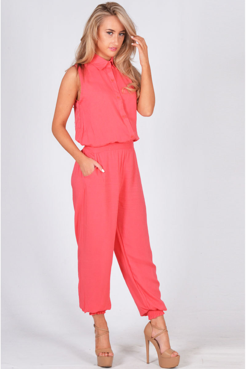 Edgar Button Up Collared Jumpsuit In Coral
