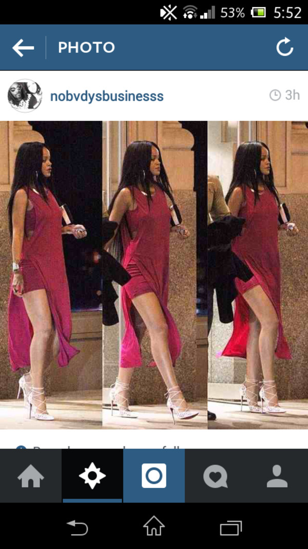 pink rihanna long dress new york city dress shoes