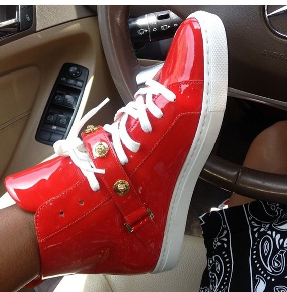 shoes high top sneaker red and white high tops strap patent leather red versace gold patent shoes versace