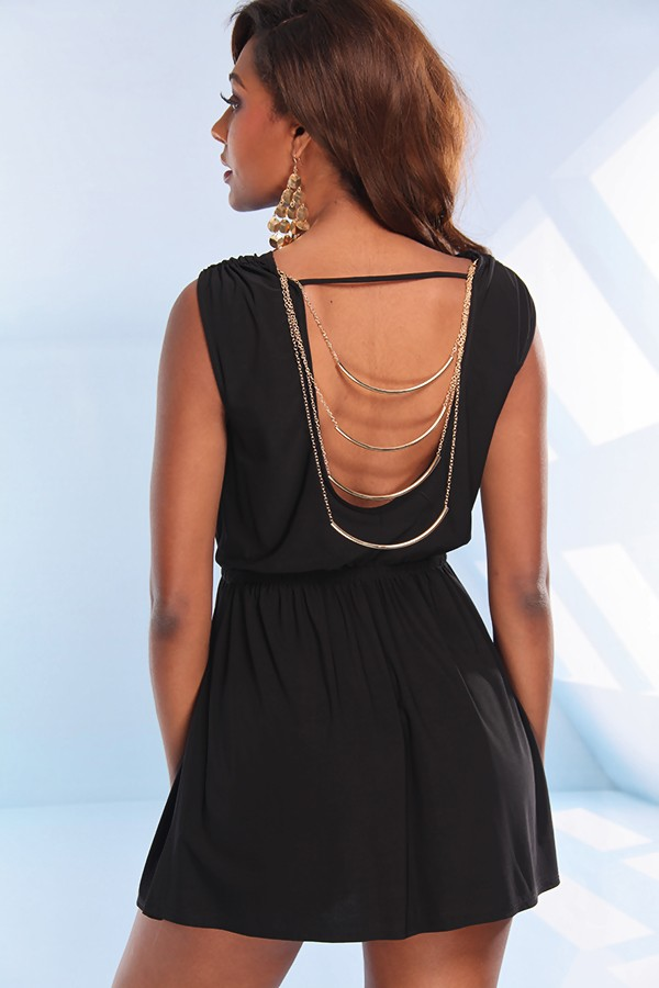 Black Little Black Dress - Black Sleeveless Dress with Open | UsTrendy