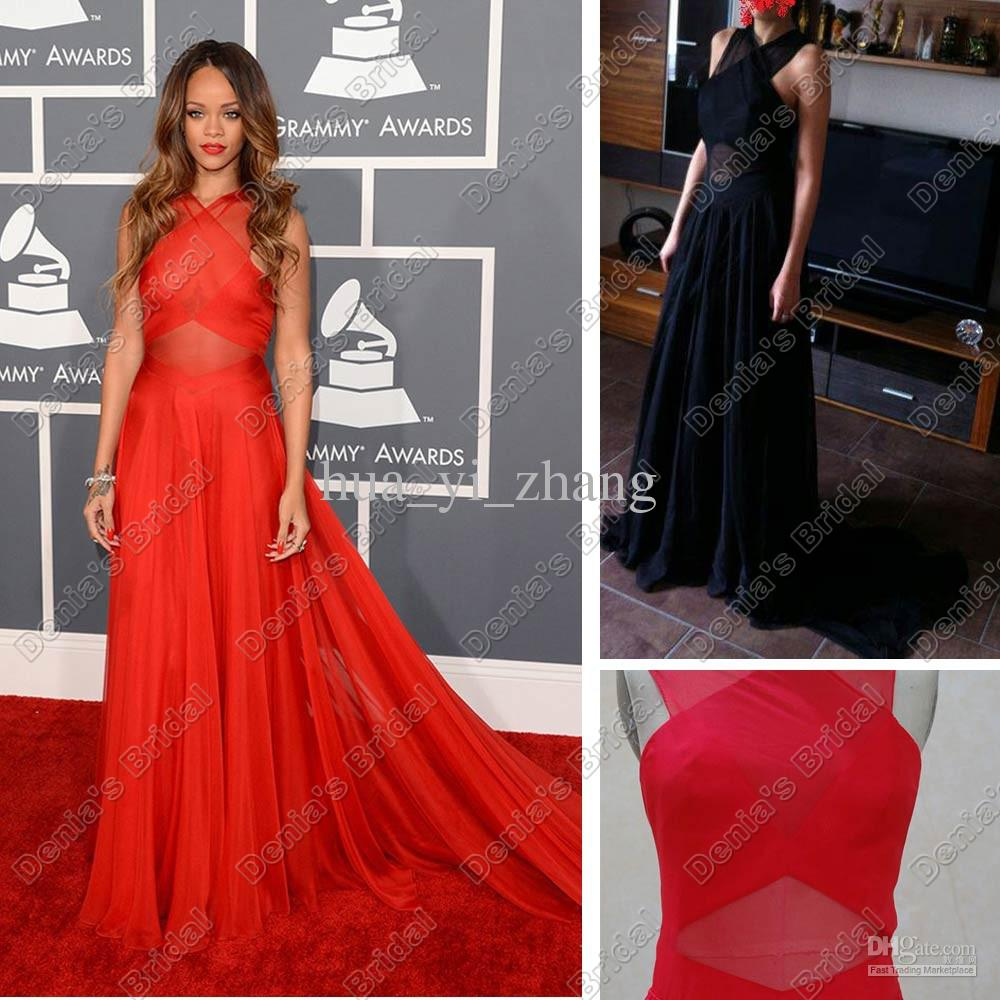 Großhandel celebrity dress von rihanna 2013 inspirierte den 55. grammy awards red carpet dresses sheer halter immobilien images poly chiffon