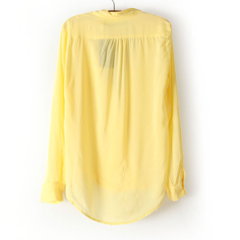 Wholesale Product Snapshot Product name is Elina's shop new fashion 2014 saia Women's solid white/yellow za deep v-neck blouse top female s m l