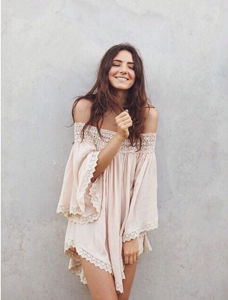 bf1302659f48 blouse pink off the shoulder bohemian lace flowy dress beige dress lace  dress pink dress cute