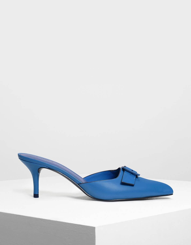 Blue Buckle Slip on Heels | CHARLES & KEITH UK