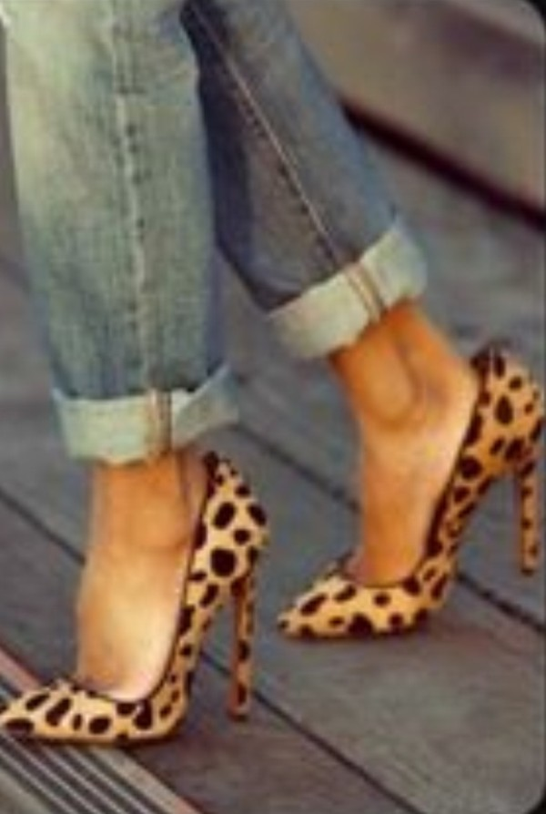 shoes leopard print high heels pumps