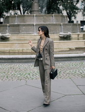 jacket,tumblr,blazer,grey blazer,pants,grey pants,plaid pants,plaid blazer,check blazer,work outfits,matching set,power suit,bag,black bag