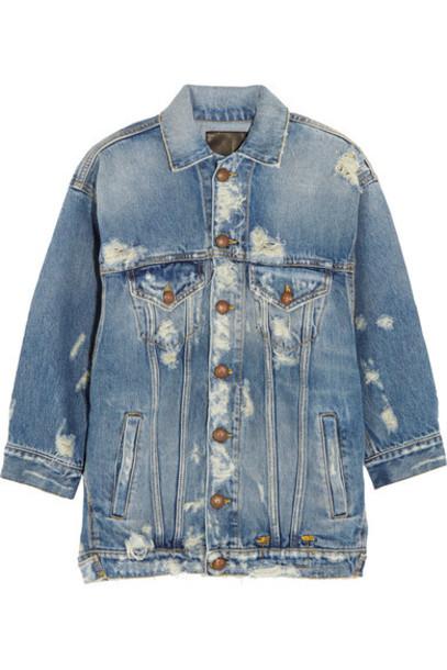 R13 - Oversized Distressed Denim Jacket - Mid denim