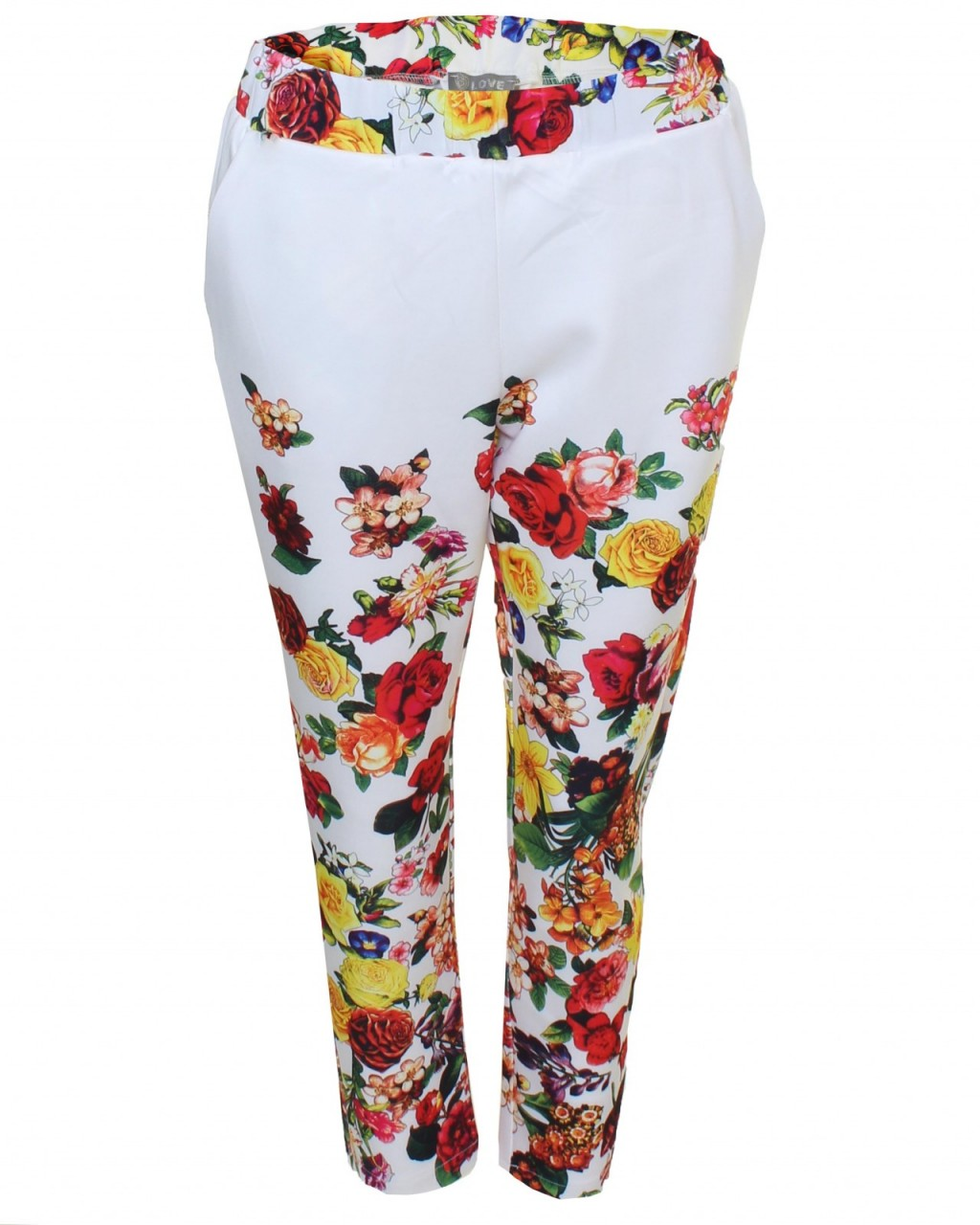 LOVE White Floral Print Scuba Trousers