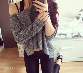 sweater instagram leggings adidas adidas shoes shoes black long hair pretty boho indie indie indie boho hipster tumblr tumblr girl tumblr outfit winter sweater winter outfits comfy warm warm sweater grey grey sweater knitwear blouse top pants shirt outfit knitwear sweater knitted sweater black jeans black pants outfit idea oversized sweater