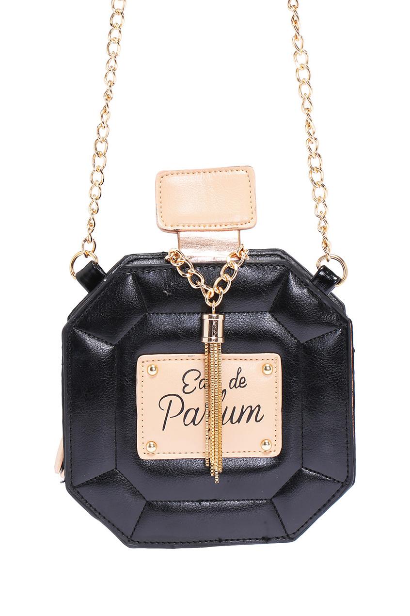 ROMWE | ROMWE Perfume Shaped Mini Black Bag, The Latest Street Fashion