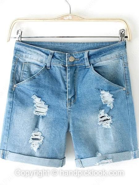Light Blue Ripped Pockets Flange Denim Shorts - HandpickLook.com