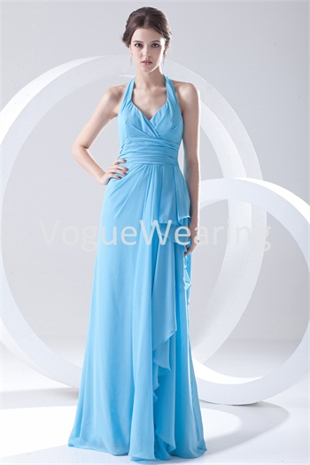 Amazing Chiffon Elastic Woven Satin Halter Apple Bridesmaid Dresses -Bridesmaid Dresses
