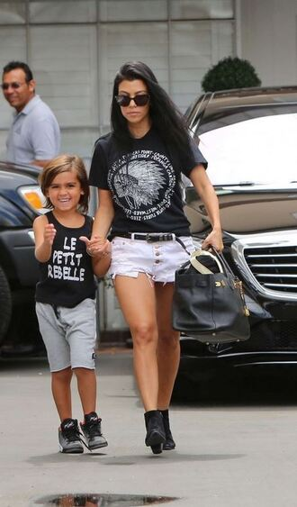 shorts top denim shorts t-shirt kourtney kardashian shoes ankle boots