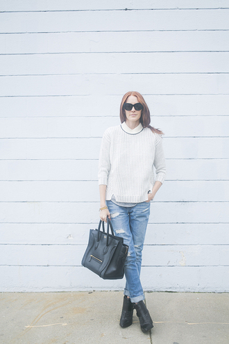 could i have that blogger sweater jeans sunglasses bag shoes jewels