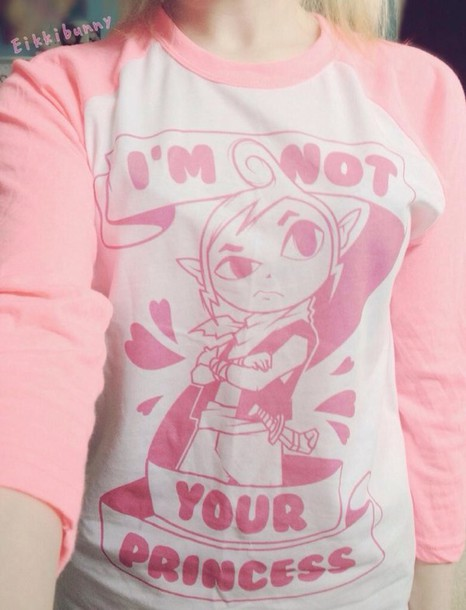 blouse pale pastel pink kawaii lovely link video game t-shirt