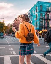 sweater,tumblr,knit,knitted sweater,knitwear,orange,backpack,mini backpack,skirt,mini skirt