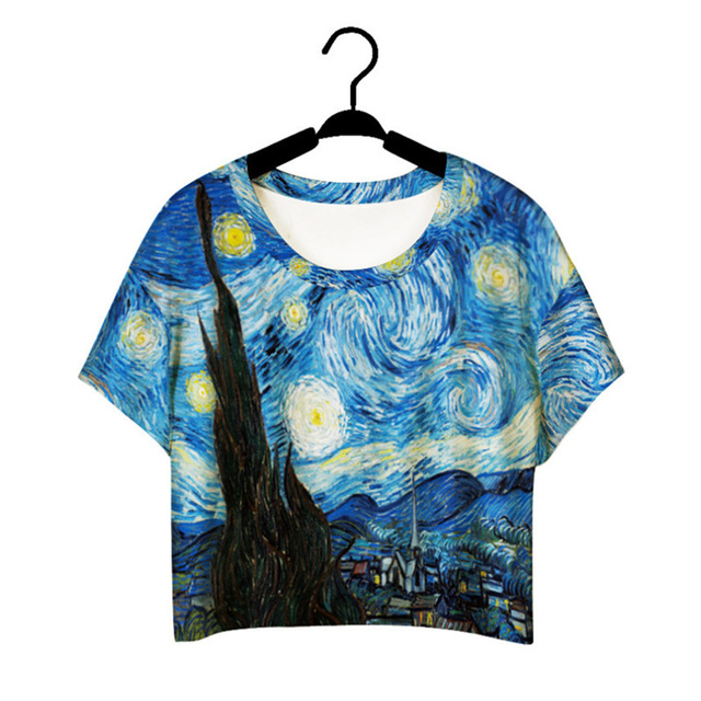 Aliexpress.com : Buy Harajuku Style Girls Van Gogh Leisure Crop Top Graffiti Painting women Vintage t shirt Casual Tee Free Shipping from Reliable painting tulip suppliers on Fashion Knitting