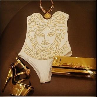 jumpsuit gold necklaces gold sequins