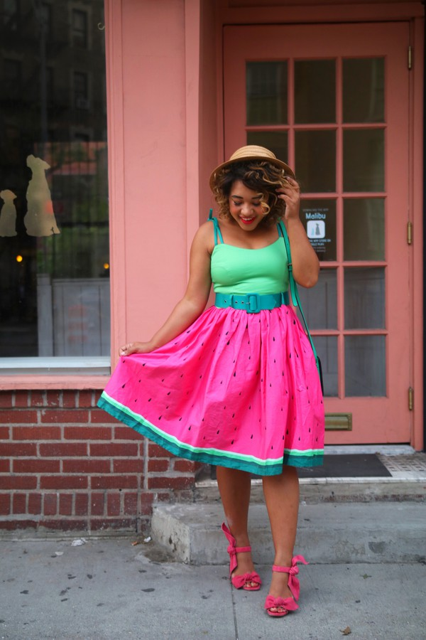 398c0f04a9a17 skirt watermelon skirt tank top sandals summer hat blogger blogger style  midi skirt