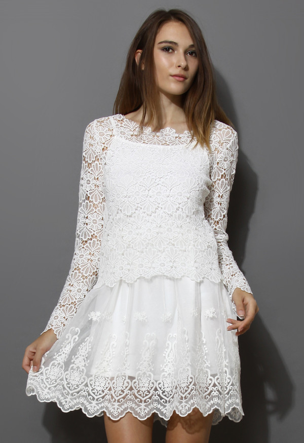 dress macrame-lace crochet embroidered twinset