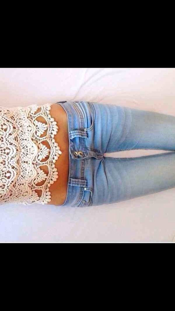 shirt lace tank top top cute white girly denim jeans blue