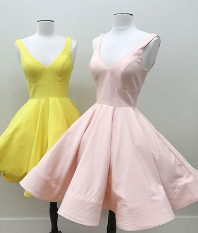 Simple v neck short prom dress, cute homecoming dress - 24prom