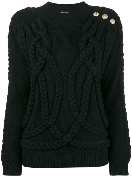 Balmain jumper women black wool knit sweater